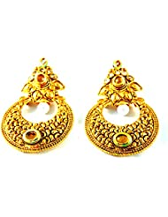 Grandiose TM. Solid Gold Plated Black Stone Antique Chaand Bali Earrings With Kundan And Pearl For Women