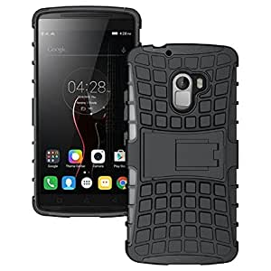 WOW Imagine Defender Tough Hybrid Armour Shockproof Hard PC+ TPU with Kick Stand Rugged Back Case Cover for LENOVO K4 NOTE - Black