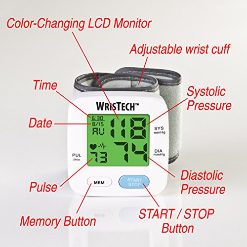Wristech Blood Pressure Monitor With Adjustable Wrist Cuff