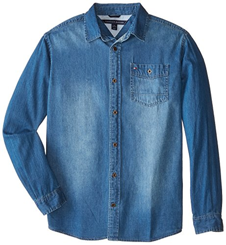 Tommy Hilfiger Big Boys' Long Sleeve Woven Max Denim Shirt, Medium Blue Wash, Large