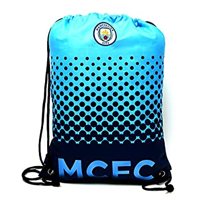 Manchester City FC Official Fade Football/Soccer Crest Drawstring Sports/Gym Bag
