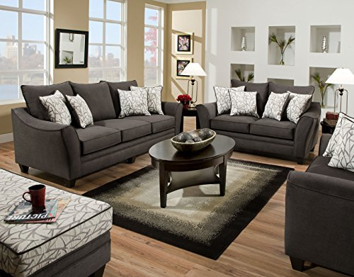 Derek Flannel Seal Fabric Sofa And Loveseat with Pillow