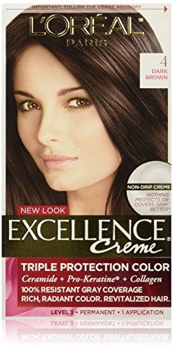 L'Oreal Paris Excellence Creme, 4 Dark Brown, (Packaging May Vary)