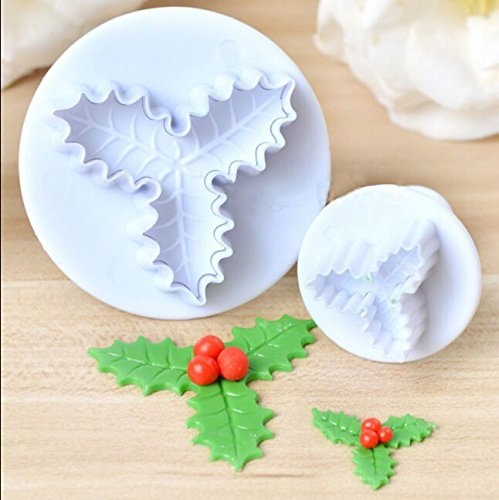 2X Holly Leaf Shape Icing Fondant Gumpaste Cake Decors Plunger Baking Mold Mould DIY (Fondant Chevron Cutter compare prices)