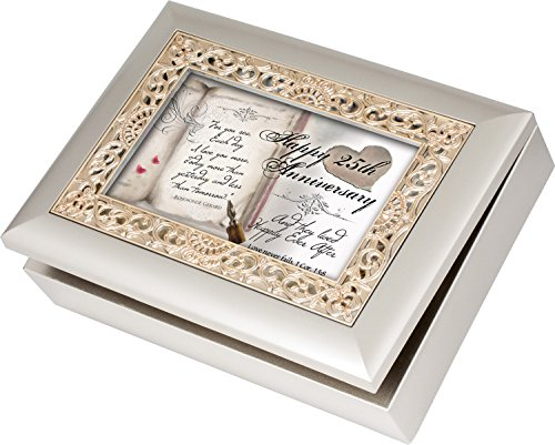 Happy 25Th Anniversary Cottage Garden Champagne Silver Silver Jewelry Music Box - Plays Song Amazing Grace
