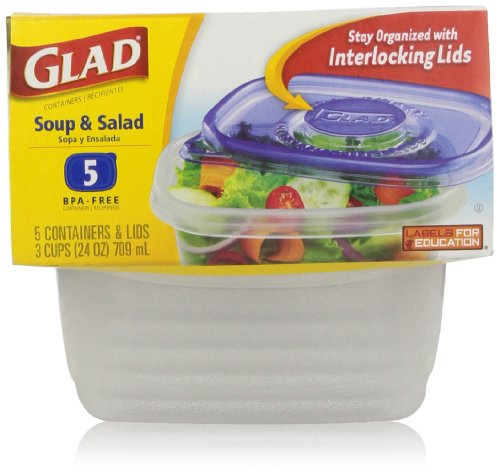 Gladware Soup And Salad Food Storage Containers, 5 Sets