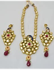 Mirror Gold Kundan Necklace Set For Women