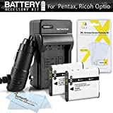 2 Pack Battery And Charger Kit For Pentax Optio WG-1, WG-2, WG-3, WG-3 GPS Waterproof Digital Camera Includes 2 Extended (1000Mah) Replacement D-LI92 Batteries + Ac/Dc Rapid Travel Charger + LCD Screen Protectors + MicroFiber Cleaning Cloth