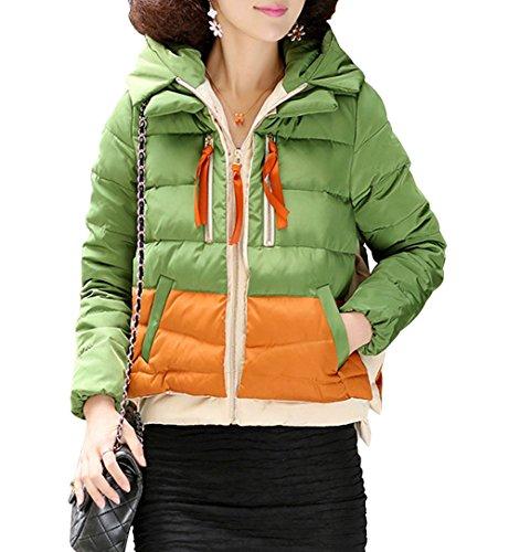 HENGDA Damen Daunenmantel Mantel Winter Daune Kurz Kontrase-Farbe Patchwork Steppjacke Kapuze Grün L