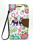 Note 2 Case, CASELOCA Unique Design PU Leather Wallet Case for Samsung galaxy Note 2 N7100 with Stylus and Screen Protector (Elephants)