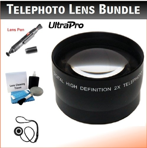 58Mm Digital Pro Telephoto Lens Bundle For The Canon Vixia Hf S10, Hf S100 Flash Memory Camcorders. Includes 2X Telephoto High Definition Lens, Lens Pen Cleaner, Cap Keeper, Ultrapro Deluxe Cleaning Kit