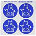 "Brady 58538 Right-To-Know Pictogram Labels , Blue On White,  2-1/4"" Width x 2-1/4"" Height,  Pictogram ""Apron"" (4 Per Card,  1 Card per Package)"