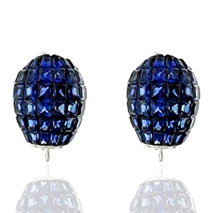 18kt White Gold Blue Sapphire Clip On Earrings Designer Jewelry