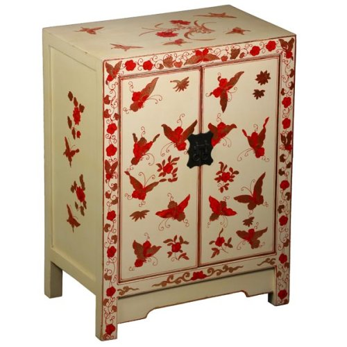 Cheap EXP Handmade Asian Furniture – 33″ White, Red & Gold Butterfly & Peony Storage Cabinet / End Table (B001JI46TI)