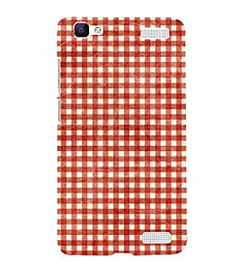 Red Checks Pattern 3D Hard Polycarbonate Designer Back Case Cover for VIVO V1 MAX