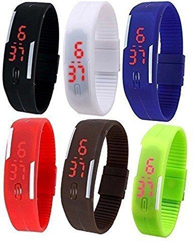 LEMONADE - Pack Of 6 - Multicolor Silicone Unisex Digital LED Band Wrist Watch For Boys, Girls, Men, Women