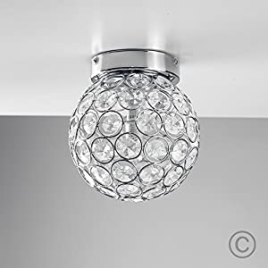 Modern Round Chrome & Clear Acrylic IP44 Rated Bathroom Ceiling Light - Complete With 3w Energy Saving G9 LED Bulb