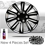 New Design 15 inch Hubcaps Mat Black Color with Silver Accents Rim Wheel Covers Hub Cap Full Lug Skin Set 546 with 2 oz Travel Size Purple Slice