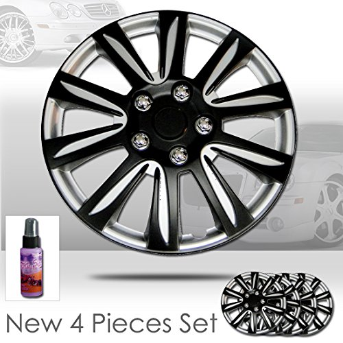 New Design 16 inch Hubcaps Mat Black Color with Silver Accents Rim Wheel Covers Hub Cap Full Lug Skin Set 546 with 2 oz Travel Size Purple Slice (Black Hubcaps For Honda Accord compare prices)