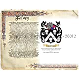 Falvey Coat of Arms/ Family Crest on Fine Paper and Family History Buy 1 get 1 FREE