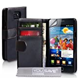 Yousave Accessories Nero Cuoio Portafoglio Custodia Per Samsung Galaxy S2 i9100 Con Schermo Pellicola Protezionedi Yousave Accessories