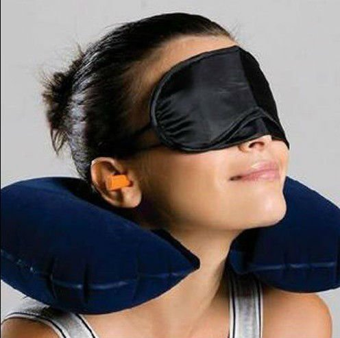 3 In1 Travel Set Inflatable Neck Air Cushion Pillow + Eye Mask + 2 Ear Plug Comfortable Business Trip