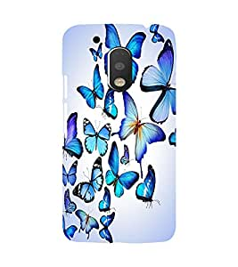Printvisa Blue Butterfly Pattern Back Case Cover for Motorola Moto G4 PLUS