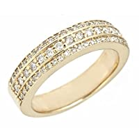 3-Row Diamond Wedding Band Ring 14k Yellow Gold (0.44 Cttw, SI-I Clarity, G Color)