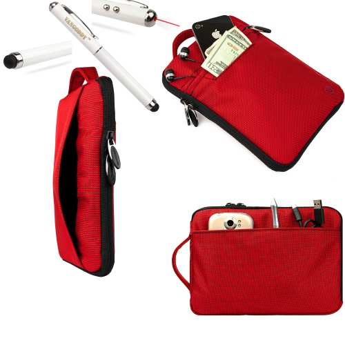 Ruby VanGoddy Tablet Accessories Stylish Hydei Padded Carrying Case Skytex Skypad Alpha 2 Protective Cover + 3 in 1 Capacitive Tipped Stylus (LED Flashlight and Laser Pointer) Batteries Included!!