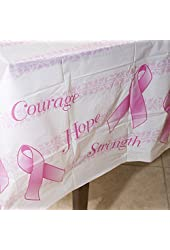 Pink Ribbon Plastic Tablecover