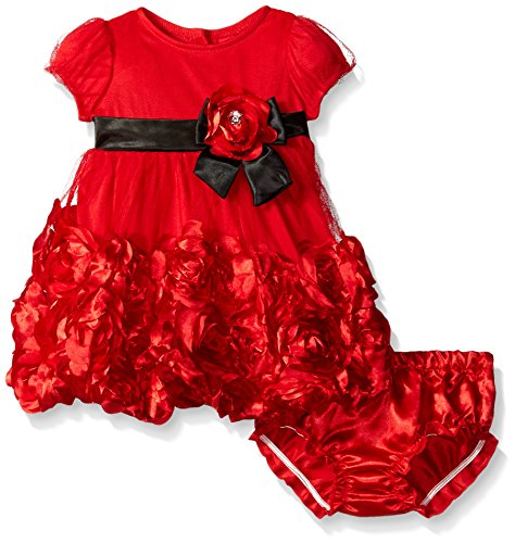 Nannette Baby-Girls Newborn Rosette Satin Dress with Panty, Red, 6-9 Months