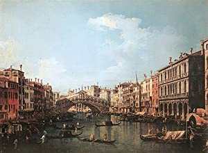 Canaletto (Rialto Bridge from the South, c.1735/40) Canvas Art Print Reproduction (13.3x18.1 in) (34x46 cm)