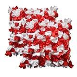 Zikrak Exim Ruffle Cushion Cover White & Red 2 Pcs Set 40 X 40 Cm