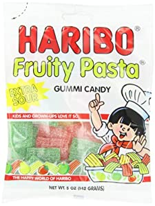 Haribo Gummi Candy, Fruity Pasta, 5-Ounce Bags (Pack of 12)