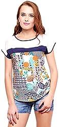 ShilpKala Women's Short Sleeve Top (skt3053m, Cream and Blue, Medium)