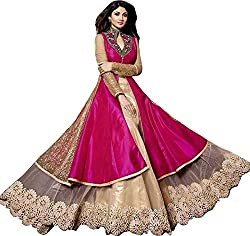 Z Fashion Shilpa Shetty Pink Color Designer Heavy Embroidered Work Stylish Semi-Stitched Net and Silk Lehenga Choli