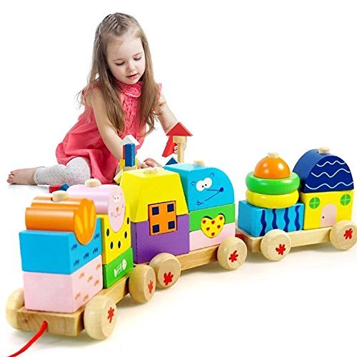 Eonkoo Fun Wooden Train Educational Toy Building Block set for Baby Kids Playing Game ,guy-rope pull toys toddler walker (Wooden Building Fun Set compare prices)