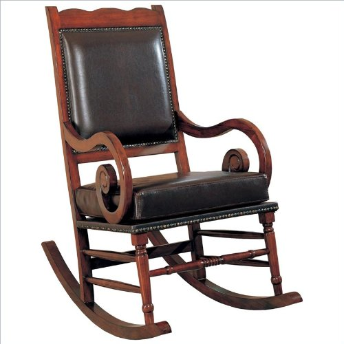 Coaster Traditional Rocking Chair, Nailhead Trim Style Bycast Leather back-918709