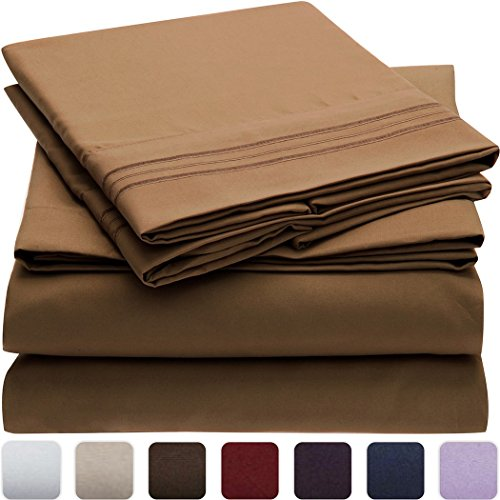 Mellanni-Bed-Sheet-Set-HIGHEST-QUALITY-Brushed-Microfiber-1800-Bedding-Wrinkle-Fade-Stain-Resistant-Hypoallergenic-3-Piece-Twin-Mocha