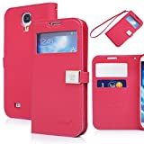 galaxy s4 case,case for Samsung Galaxy i9500,By Ailun, Wallet Case,PU Leather Case,Credit Card Holder,Flip Cover Skin[Red]