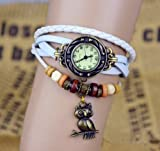 1pcs Owl Pendant Leather Strap Watch for women Vintage Watches Quartz Casual watch bronze Ladies wristwatch bracelet Dress watch (White)
