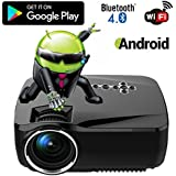 Android WiFi Bluetooth Projector (Warranty Included), Support Full HD 1080P, ERISAN Multimedia Mini Pro Portable...