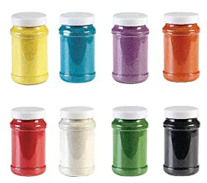 Rainbow Craft Sand Assortment (8 Pc) 22 Oz. Per Bottle, 8 Huge Bottles.