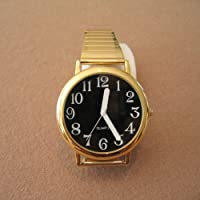 Unisex Low Vision Watch Gold Tone Black Face