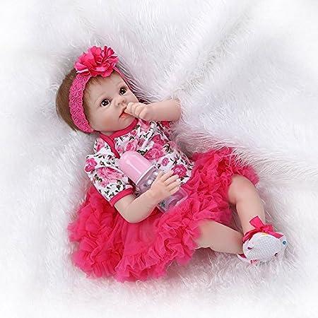 Nicery Poupée en Vinyle souple en silicone Reborn bébé 22inch 55cm Magnétique Bouche Lifelike Garçon Jouet Fille Rouge Fleur Baby Doll A3FR