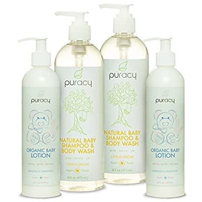 Puracy Natural & Organic Baby Care Gift Set - Baby Shampoo, Bubble Bath, Body Wash & Lotion Skin Care Bundle - Sulfate & Paraben-Free - Developed by Doctors Using Award Winning Ingredients - Pack of 4