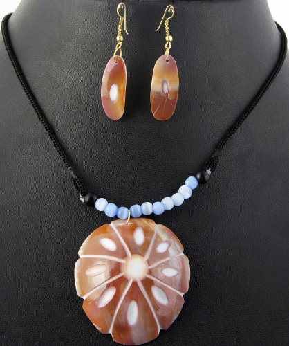 Carved MOP Necklace with Earrings Set - Beaded Jewelry