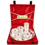 SHIV SHAKTI ARTS High Quality Silver Plated 7 Piece Dinner Set Thali Set With Gift Packing Box For Use Dinerware...