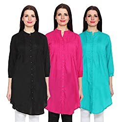 NumBrave Black, Magenta & Blue Long Cotton Top (Pack of 3)