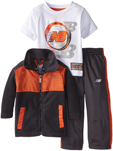 New Balance Baby-Boys Infant Micro Polar Fleece Denali Jacket And Pant With Graphic Jersey T-Shirt, Charcoal/Orange, 18 Months front-923279